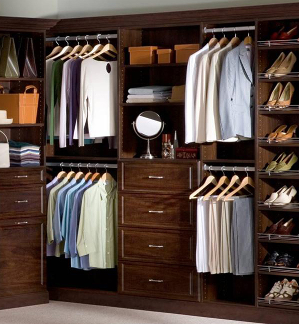 Master Bedroom Walk-in Closet in Mahogany