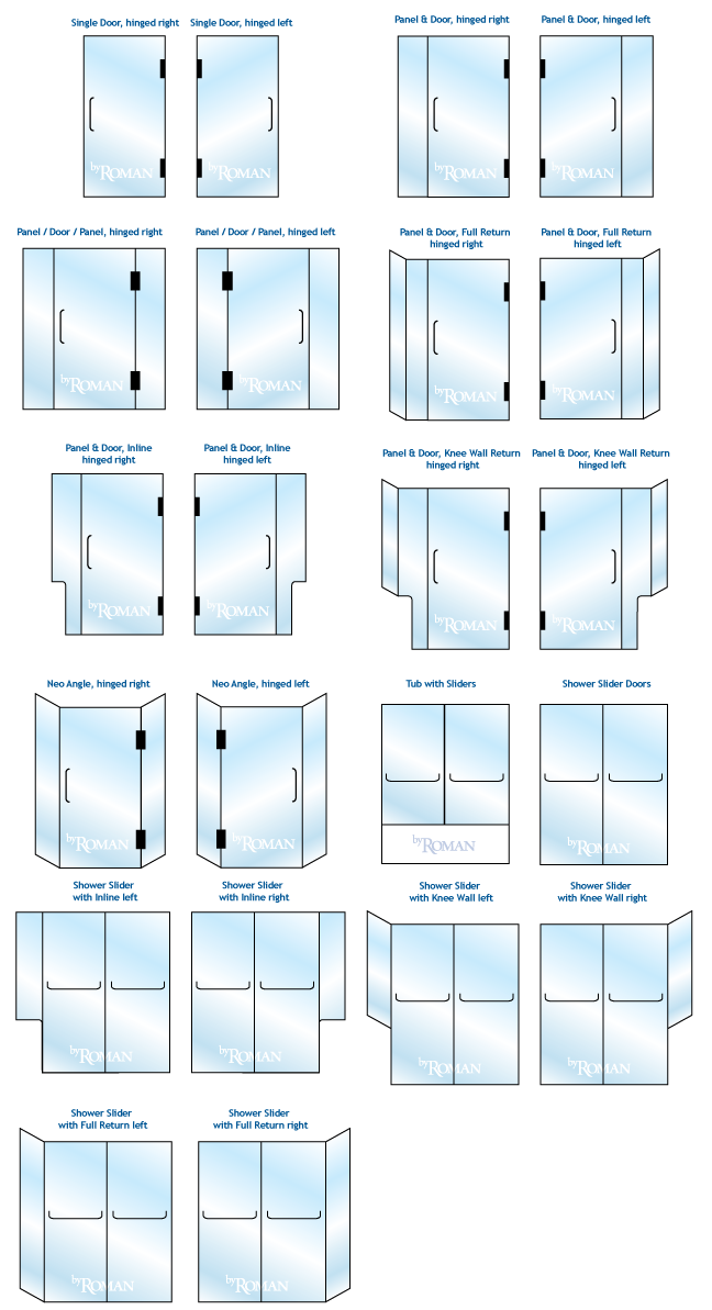 byRoman Shower Door Configurations Guide